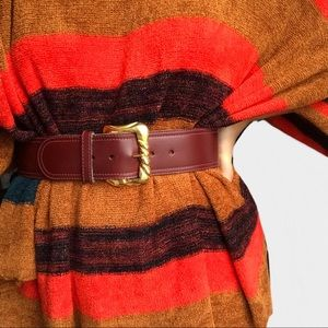 Vintage Cece Kieseltein Cord Burgandy Wide Belt